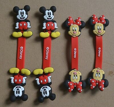 4x Mickey Mouse Minn Earphone Winder Cable Cord   Organizer Holder Clip Tool