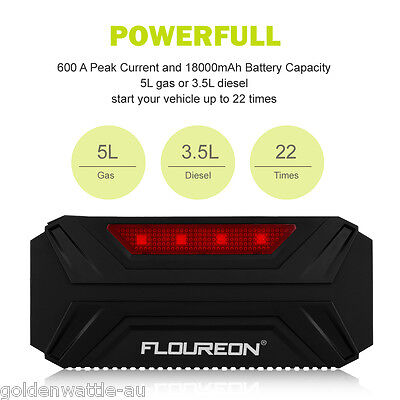 LED 18000mAh Car Jump Starter 600A batterie Chargeur Booster Power Banque light