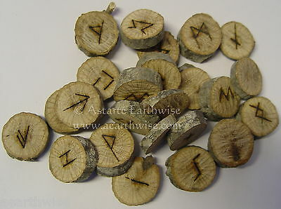 OAK NATURAL RUNES SET IN POUCH Pagan Wicca Witch Goth WITH CHART & INSTRUCTIONS