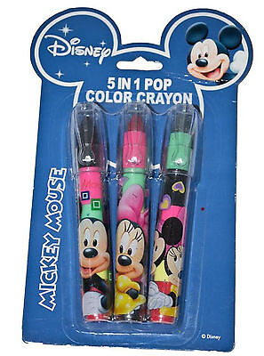 Mickey Mouse 5 in 1 Pop Colour Crayon Drawing Colouring Sketching Crayons Kids