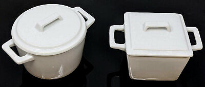 Small White Ceramic Cocotte Pot Dishes Oven Table Bowls Serving Ramekin With Lid