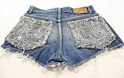 16 Denim Cut Off Sequin Short - Disco Designer Jeans Antique Boutique Deadstock