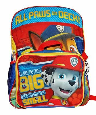 "Nickelodeon Paw Patrol  16"" Canvas  School Backpack With Lunchbox Bag Combo Boy"