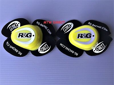 R&G Racing PAIR Knee Sliders in YELLOW / BLACK with  R&G LOGO