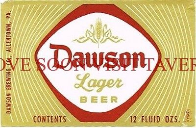 1960s Allentown PA Dawson Lager 12oz Beer Label Tavern Trove