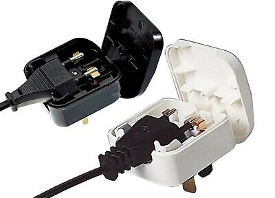 Euro Europe to UK Plug Converter 2 to 3pin Pins  5A Fused WHITE Adapter