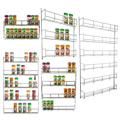 2 3 4 5 & 6 Tier Spice Jar Rack Kitchen Cupboard Door Wall Mounted Storage Unit