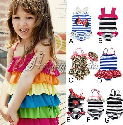Toddler Girl One Shoulder Halter One-piece Beachwear Bathers Swimsuit Swimwear