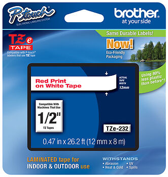 "Brother TZe-232 1/2"" Red on White P-touch Tape 12mm, TZe232, TZ232, TZ-232"