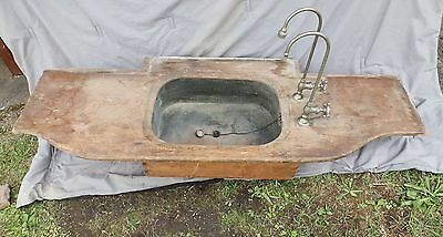 Early Antique Copper Sink Pine Counter Top Gooseneck Faucets Old Vintage 1081-16