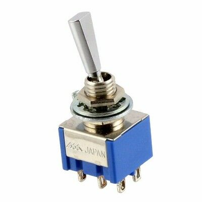 NEW ON-ON 2-way DPDT Mini Toggle Switch w/ Flat Lever for Guitar or Bass CHROME