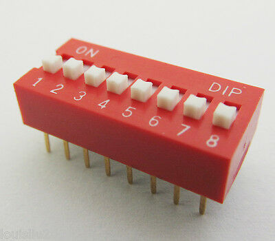 5pcs 8 positions DIP Switch Red NEW DP Free shipping