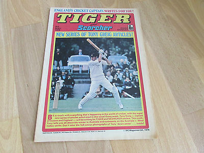 TIGER & Scorcher Comic Pat Jennings & Tony GREIG Cricket Picture 08/05/76