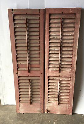 Pair Vtg House Window Wood Louvered Shutter Shabby Old Chic 15x51 1088-16