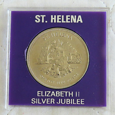 ST HELENA 1977 SILVER JUBILEE 25 PENCE CROWN - in spink style case