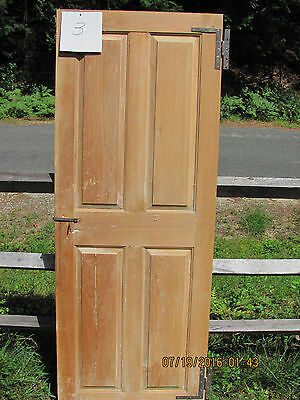 "18th Century, or Early 19th Century Pine 4 Panel Door w/ forged ""HL"" Hinges(#3)"