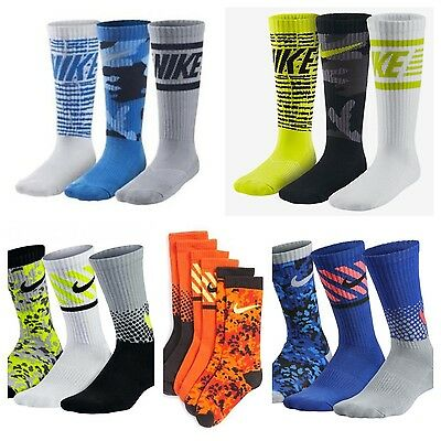 Nike Cotton Graphic Crew Socks (3 Pack) Kids youth