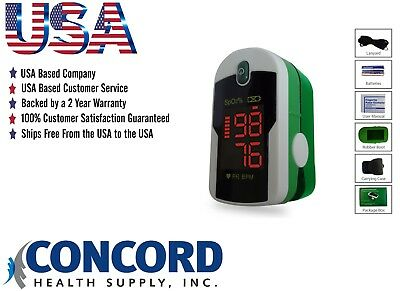 Fingertip Pulse Oximeter with case, lanyard and batteries-The Concord Emerald