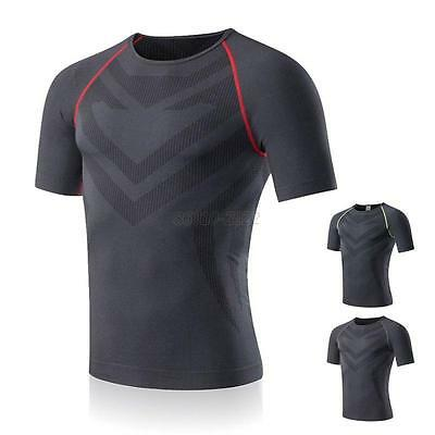 Men Casual Compression Sports Fitness Training Wicking T-shirt Stretch Shirt Top