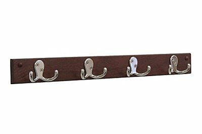Wooden Mallet HSD4NMH 4 Double Prong Hook Rail/Coat Rack, Nickel/Mahogany NEW