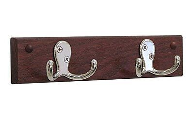 Wooden Mallet HSD2NMH 2 Double Prong Hook Rail/Coat Rack, Nickel/Mahogany NEW