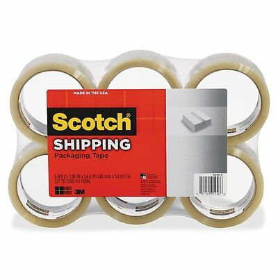 "Shipping Packing Tape 6 Rolls 3M Scotch Clear Sealing 1.88"" x54.6 Yards per Roll"