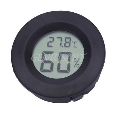 Digital Mini Cigar Humidor Hygrometer Thermometer Temperature Round Black