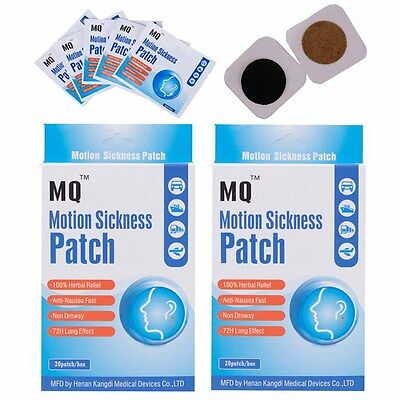 40 Patches/2 Boxs Travel Motion Sickness Patch Anti Nausea Car Sea Sick Sickness