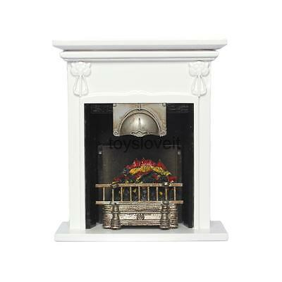 Dolls House Miniature 1:12 Furniture White Wooden Fireplace for Living Room