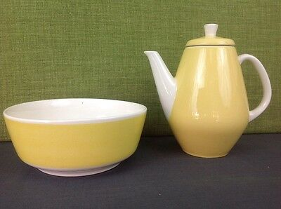 Vintage Yellow and White Washbowl Set Made In Germany by Helga Bowl and Jug