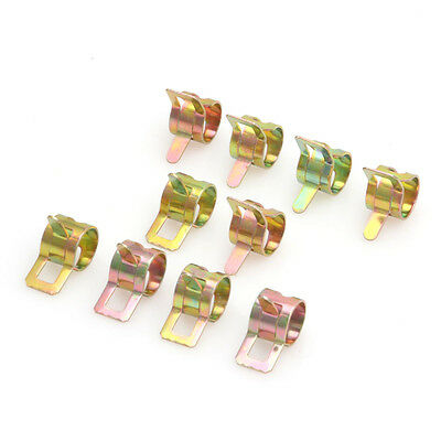 10Pcs 9mm/0.35 inch Spring Clip Fuel Oil Water Hose Tube Pipe Clamp Fastener FF