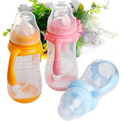 Wide Mouth Baby Cup Feeding Bottle Easy Trainer Grip Plastic Handles Holder FF