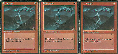mtg Magic 3x Lightning Bolt ( Relampago ) 4th FBB BB SPANISH  ( POOR )