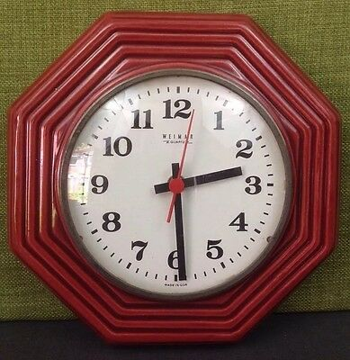 Vintage Kitchen Ceramic Red Hexagonal Wall Clock Made in East Germany Retro