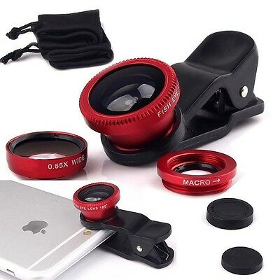 Macro Camera Clip-on Lens for iPhone 7 Plus 6S 5, 3in1 Fish Eye + Wide Angle