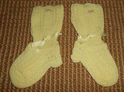 Vintage Yellow  Machine Knitted Unworn Baby Sock-Booties Ca 1950's