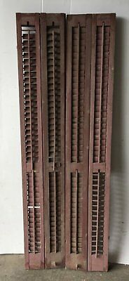 Pair Antique Bifold Tall Window Wood Louvered Shutter Shabby Old 12x71 1099-16