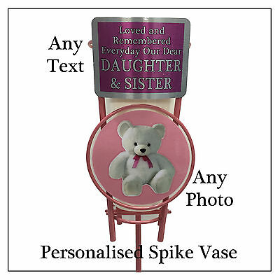 Personalised Pink Spike Flower Vase Pot - Children Girl Baby Memorial Graveside