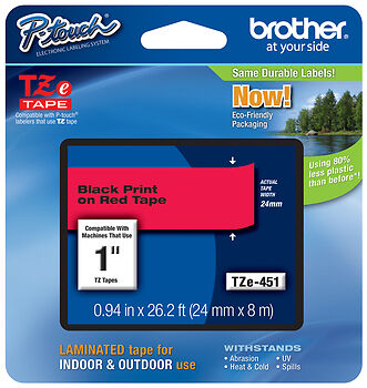 """Brother 1"""" (24mm) Black on Red P-touch Tape for PT330, PT-330 Label Maker"""