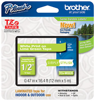 "Brother 1/2"" (12mm) White on Lime Green P-touch Tape for PT520, PT-520 Printer"