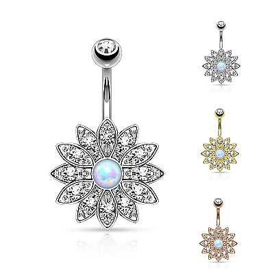 Fashion Jewelry Cristal Fleur Barre De Nombril Anneau Coupe La Marquise Zircone Pétales Body Piercing Jewelry