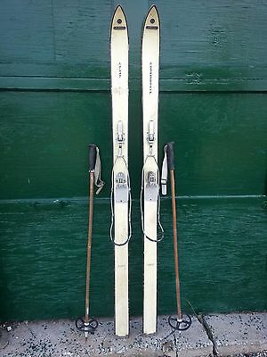 "VINTAGE Wooden 59"" Skis with Bindings Has Original White Finish"