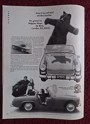 1966 Print Ad Austin Healey MG Sprite Car Automobile ~ Man in Bear Costume