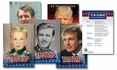 "Donald Trump 2016 ""Life & Times"" Trading Card Set! 5 Card Collection!"