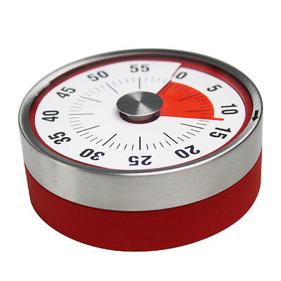 Red 8CM Stainless Steel Magnets Fridge Kitchen Timer Mechanical Time Reminder