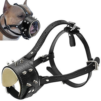 Cool Spiked Studded Leather Dog Muzzle for Pitbull Labrador Anti Biting Barking