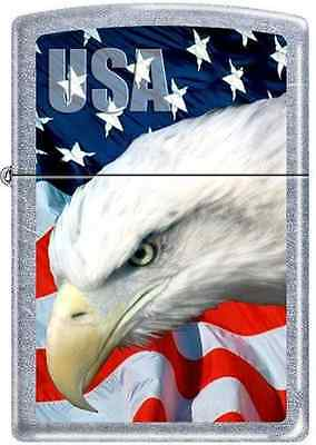 USA American Eagle and Old Glory Patriotic Chrome Zippo Lighter