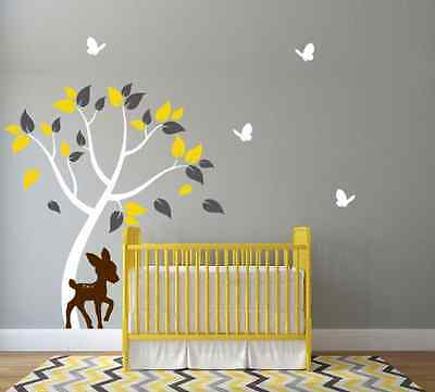 Nursery Tree Wall Decal with Cute Deer and Butterflies