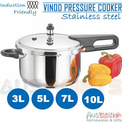 Vinod Stainless Steel Pressure Cooker - With Lid 3L / 5L / 7L / 10L Induction