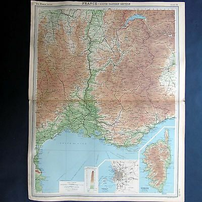 France Map - South Eastern Section - Vintage 1922 Map by Bartholomew